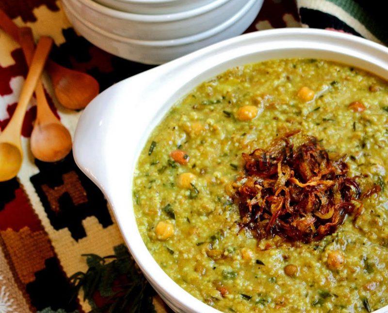طرز تهیه آش سبزی،آَش سبزی شیرازی چیست؟