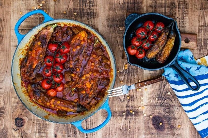 طرز تهیه و دستور پخت چلو خورشت بادمجان مجلسی