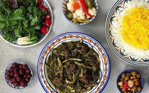 طرز تهیه خورش کنگر با گوشت خورشتی