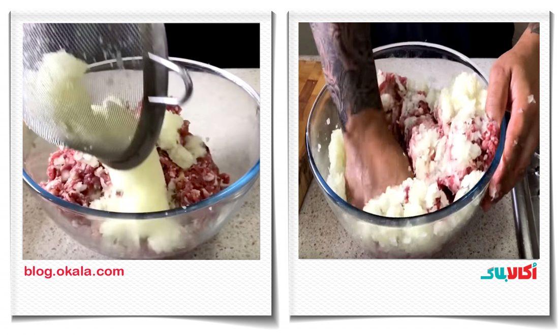 کباب کوبید، ورز دادن گوشت و پیاز