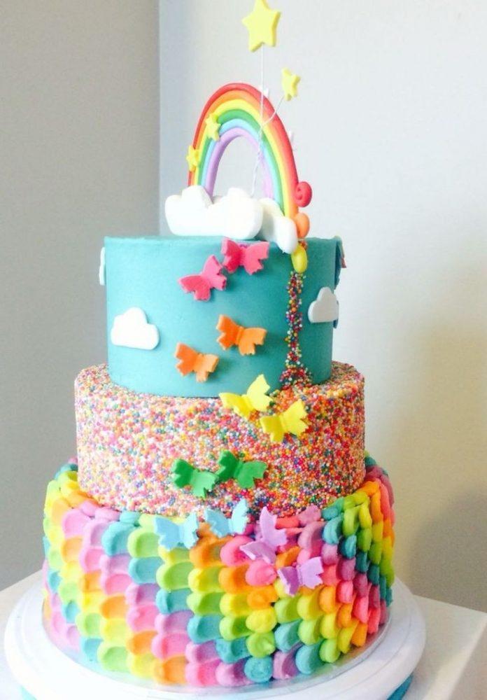 کیک تولد رنگین کمان