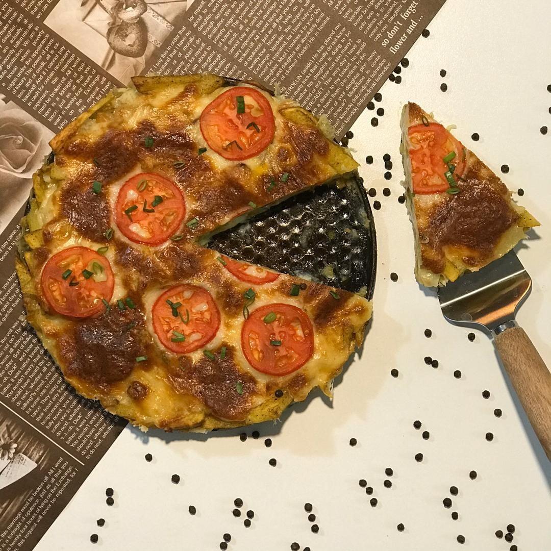 سیب زمینی پیتزایی-بشقاب چیپس-سیب زمینی پنیری
