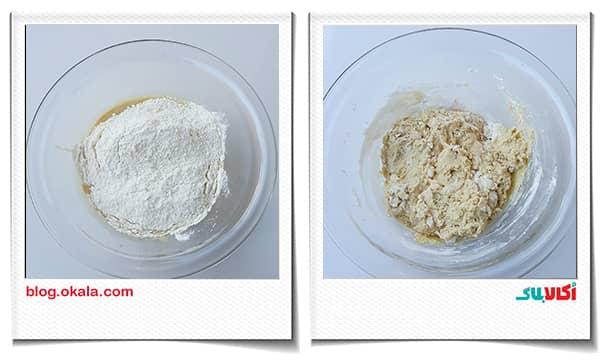 ریختن آرد کم کم در خمیر نان زنجبیلی