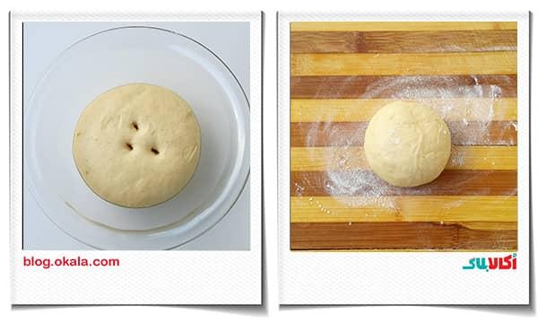 قرار دادن سلفون بر روی ظرف خمیر نان زنجبیلی