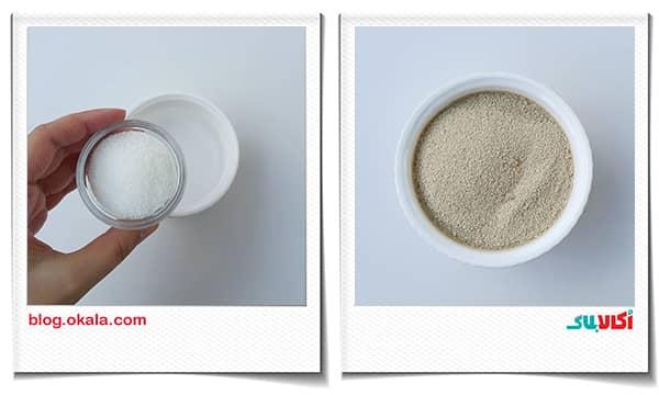 شکر و خمیر مایه و مخلوط کردن با هم در نان زنجبیلی
